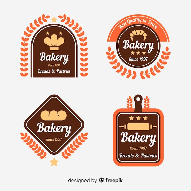 Flat bakery logo pack Free Vector
