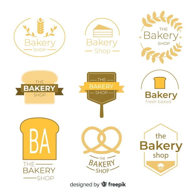 Flat bakery logo template Free Vector