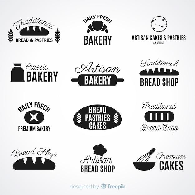 Flat bakery logos Free Vector