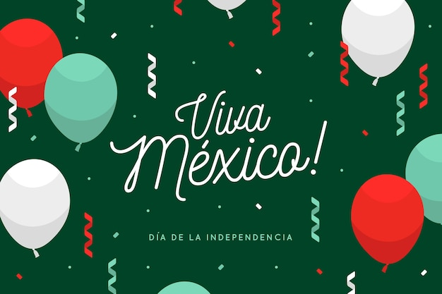 Flat balloons on independence day of mexico background Free Vector