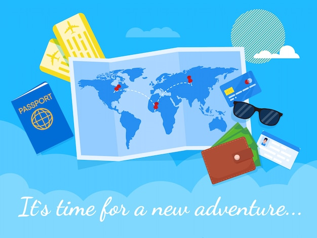 Flat baner its time for a adventure lettering. Premium Vector