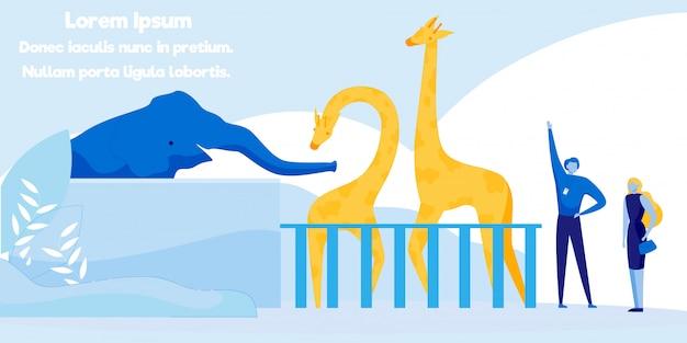 フラットバナー広告の刺激的な動物園の遠足。 Premiumベクター