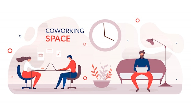 Flat banner advertising modern coworking space Premium Vector