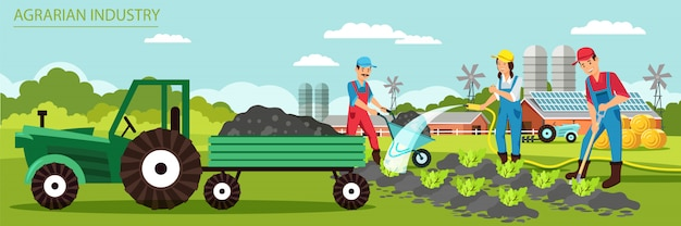 Flat banner agrarian industry vector illustration. Premium Vector