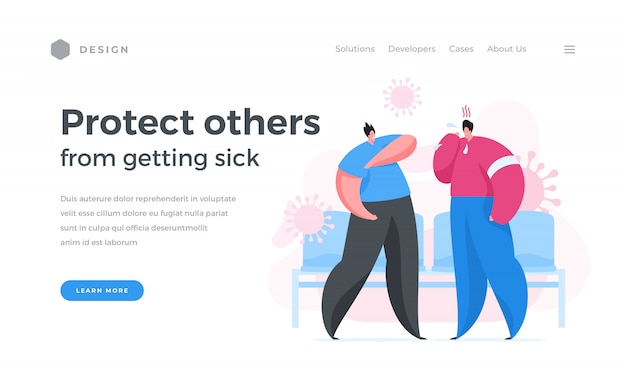Flat banner  calling to protect others from virus Premium Vector