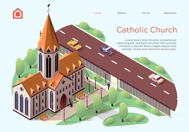 Flat banner catholic church lettering cartoon. Premium Vector