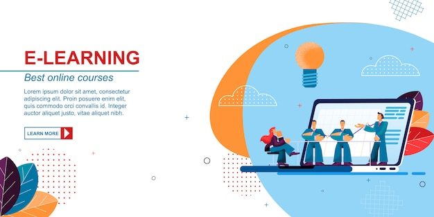 Flat Banner E Learning Best Online Courses Vector Premium Vector