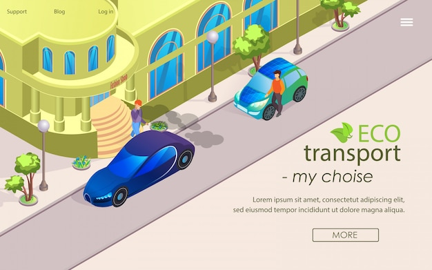 Flat banner eco transport my choise cartoon. Premium Vector
