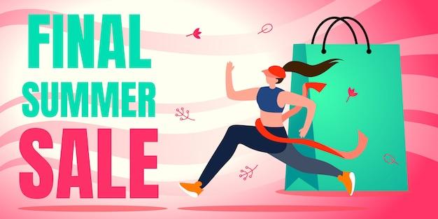 Flat banner final summer sale. Premium Vector