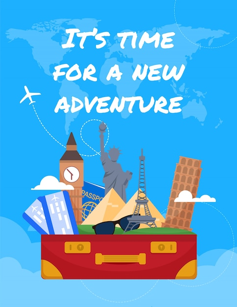 Flat banner inscription its time for a adventure. Premium Vector