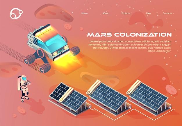 Flat banner inscription mars colonization cartoon. Premium Vector
