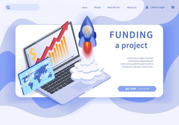 Flat banner is written funding project platform. Premium Vector