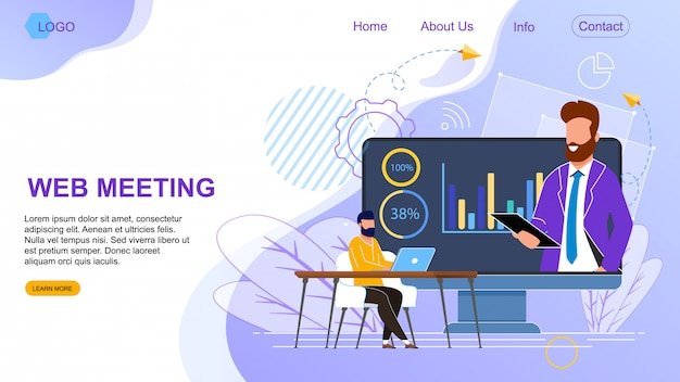 Flat banner is written web meeting landing page. Premium Vector