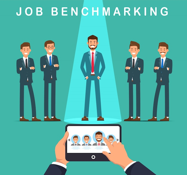 Flat banner job benchmarking vector illustration. Premium Vector