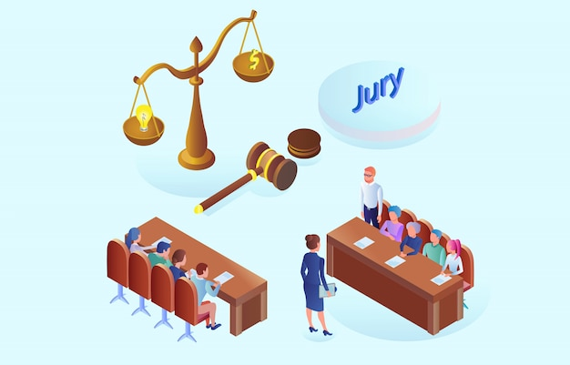 Flat banner jury meeting and discussion isometric Premium Vector