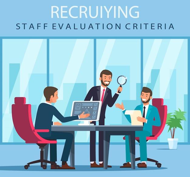 Flat banner recruiting staff evaluation criteria. Premium Vector