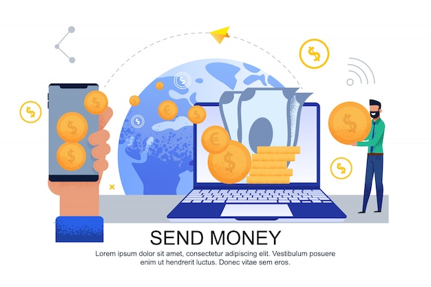 Flat banner send money transfer from card to card. Premium Vector