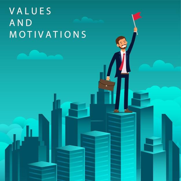 Flat banner values and motivations job seeker. Premium Vector