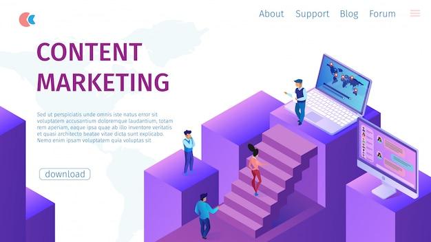 Стратегия контент менеджер по маркетингу flat banner. Premium векторы