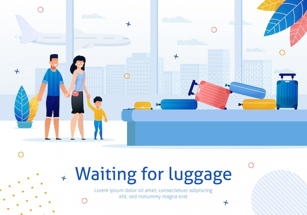 Ожидание багажа в аэропорту flat banner Premium векторы