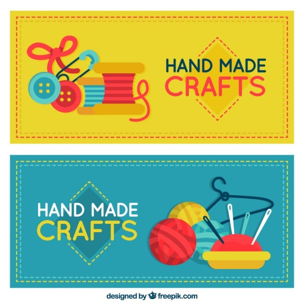 Flat banners about crafts Free Vector
