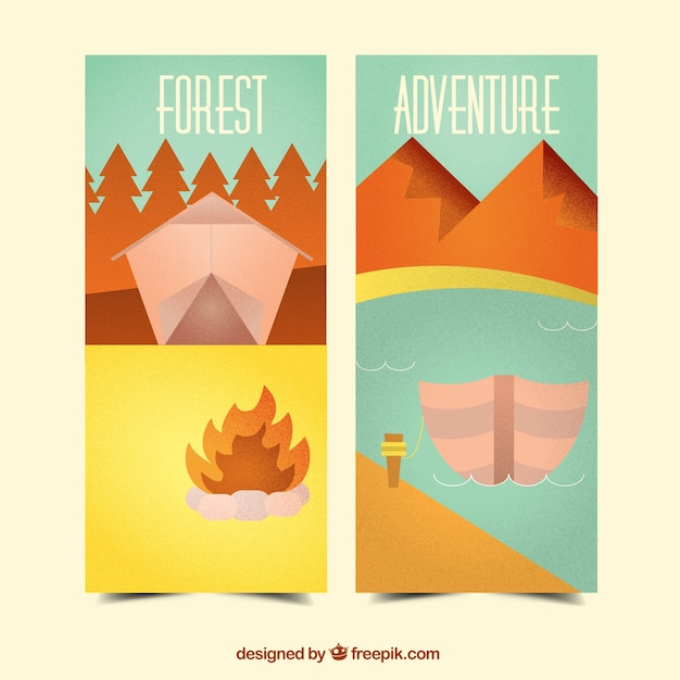 Flat banners about forest adventure