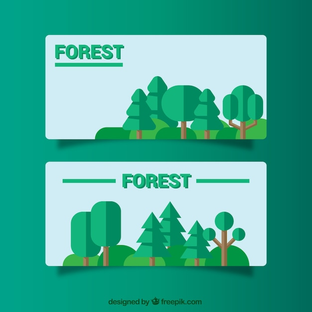 Flat banners about forests