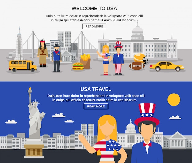 Flat banners composition usa culture Free Vector