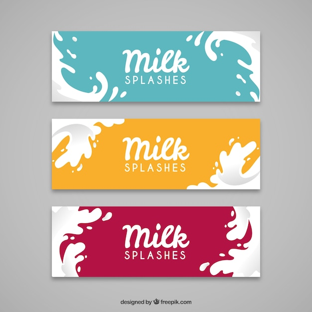 Flat banners of milk splash with different colors Free Vector