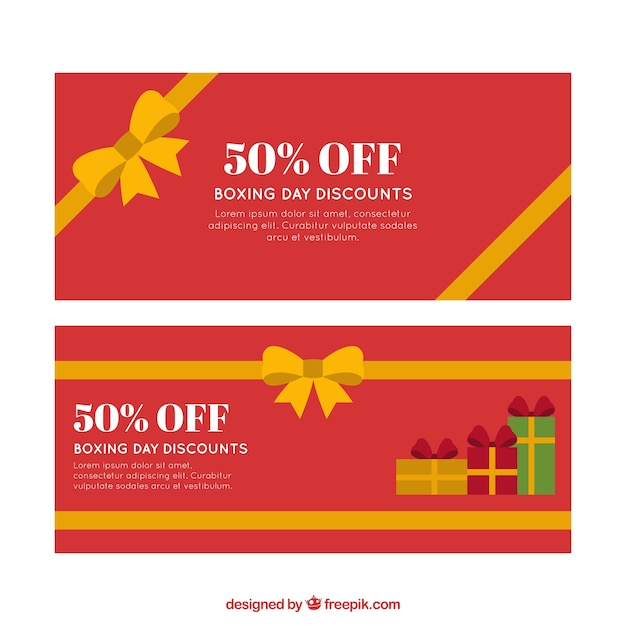 Flat banners of boxing day with\ discounts