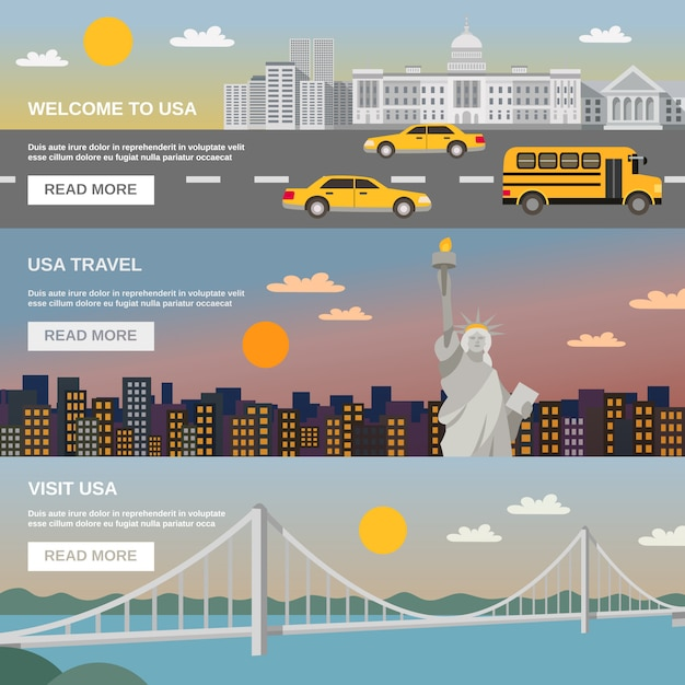 Flat banners set usa travel information Free Vector