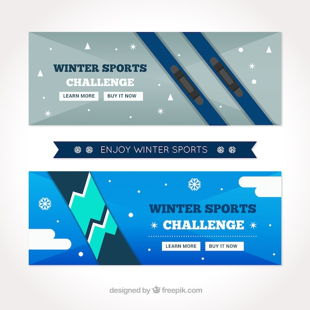 Flat banners with sport equipment for\ snow