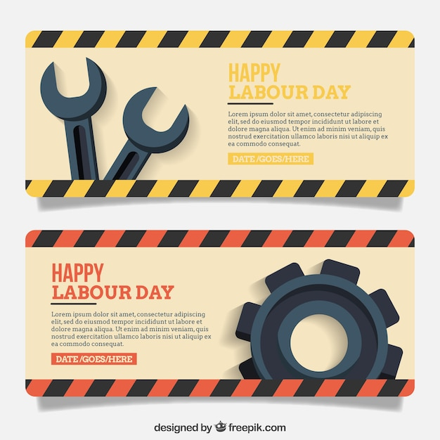 Flat banners with tools for international worker's day