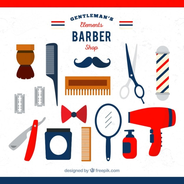 Flat barber element collection Free Vector
