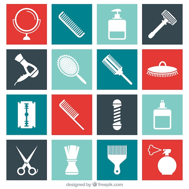 Flat Barber Shop Icons Set Vector Free Download