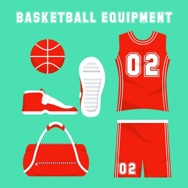 Flat basketball equipmant Free Vector