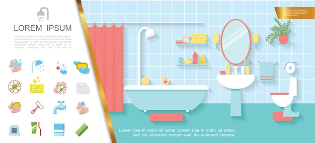 Flat bathroom interior colorful concept Free Vector