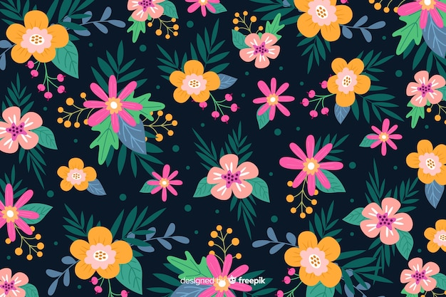 Flat batik style of beautiful floral background Free Vector