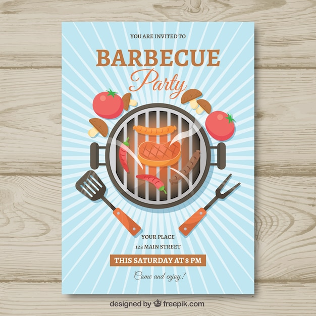 flat bbq invitation template vector free download