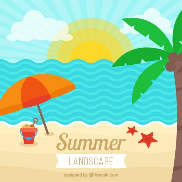 Flat Beach Landscape With Palm Tree Premium Vector