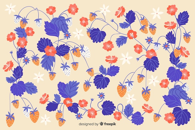 Flat beautiful blue flowers background Free Vector