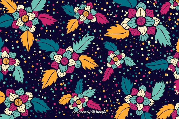 Flat beautiful floral backgroud Free Vector