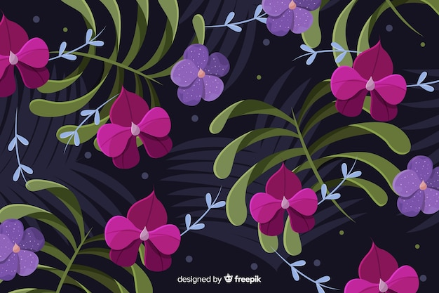 Flat beautiful floral background Free Vector
