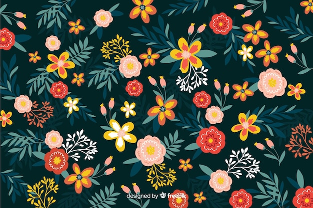 Flat beautiful floral style Free Vector