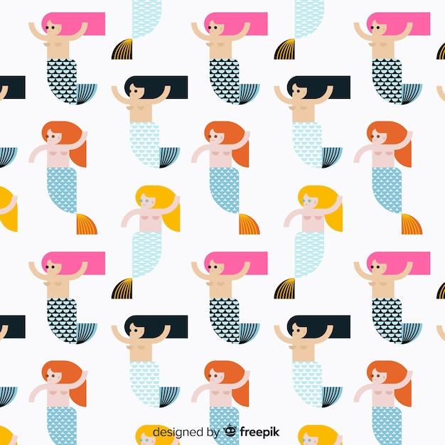 Flat beautiful mermaid pattern background Free Vector
