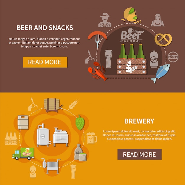 Flat beer banners Free Vector