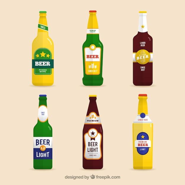 ラベル付きフラットビールボトルコレクション 無料ベクター