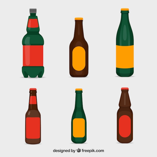 flat beer bottle collection with label vector free download rh freepik com water bottle vector free download bottle cap vector free download