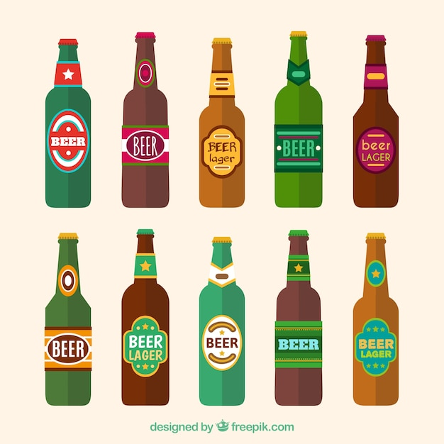 flat beer bottle collection with label vector free download