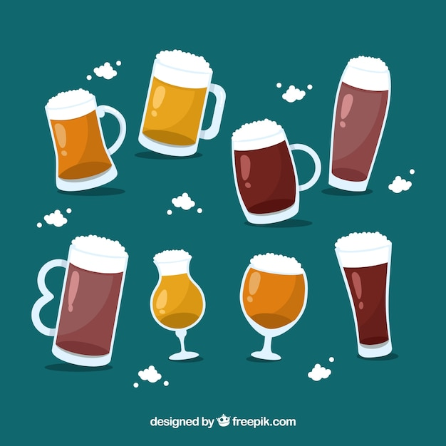 Flat beer glass & mug collection Free Vector